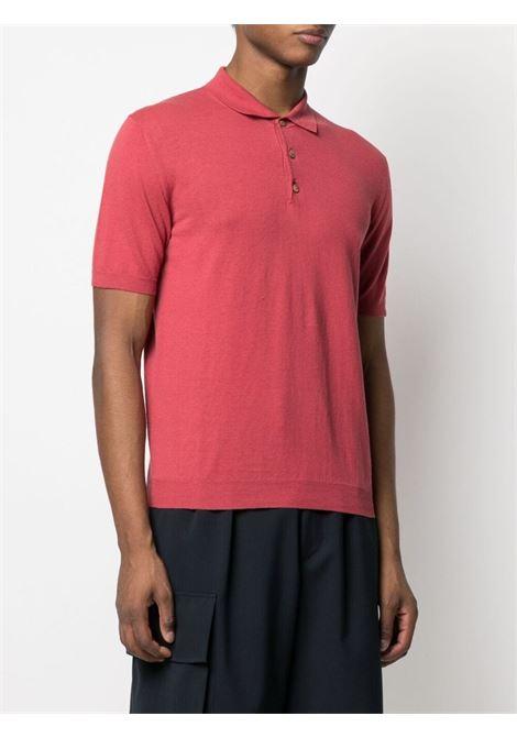Red cotton and linen plain polo shirt  ALTEA |  | 215100268