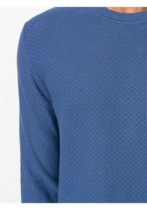 Maglia girocollo in cotone e lino blu ALTEA | Maglieria | 215101004