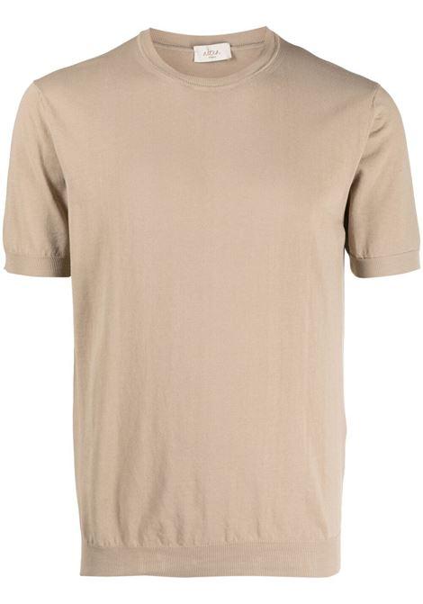 T-shirt in maglia fine di cotone beige con dettagli a coste ALTEA | Maglieria | 215102132
