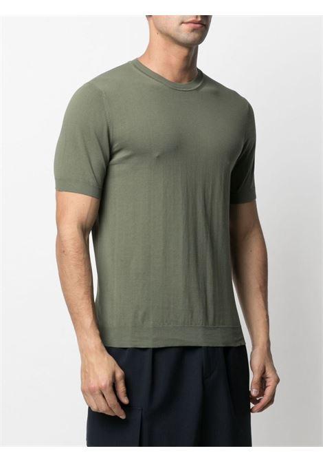 T-shirt in maglia a maniche corte in cotone verde militare ALTEA | Maglieria | 215102146