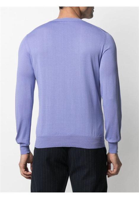 Maglione girocollo in cotone lilla-viola lavorato a maglia fine ALTEA | Maglieria | 215102685