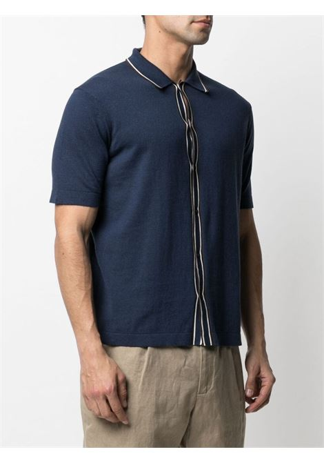 Navy-blue,white and brown cotton buttoned-up knitted shirt featuring stripe print ALTEA |  | 215104409