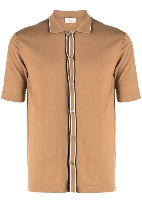 Camel brown cotton button-down polo shirt  ALTEA |  | 215104432