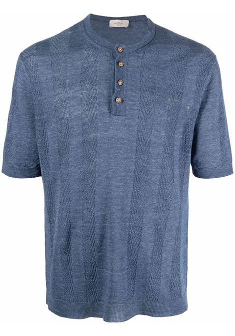 T-shirt in lino blu avion con bottoni e collo alla coreana ALTEA | Maglieria | 215105510
