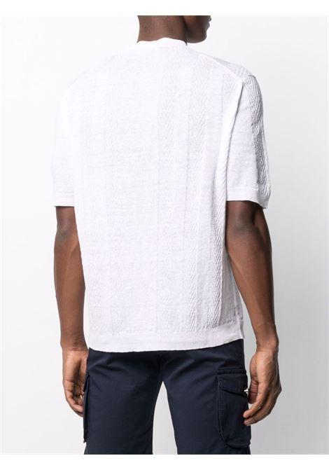 Camicia collo serafino in lino chevron bianco ALTEA   Maglieria   215105529