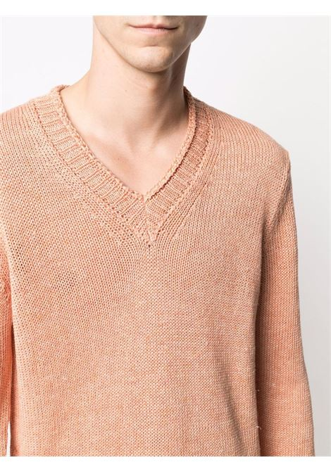 Maglione in lino con scollo a V arancione chiaro ALTEA   Maglieria   215106265