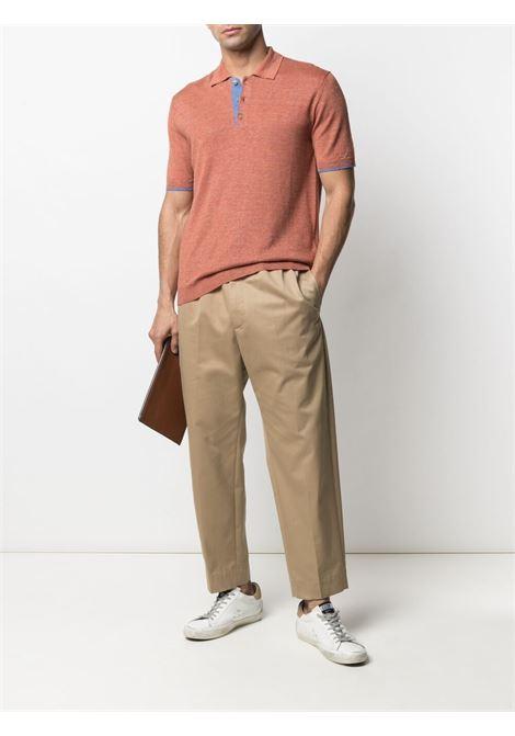Polo in lino arancione a maniche corte ALTEA | Polo | 215107163