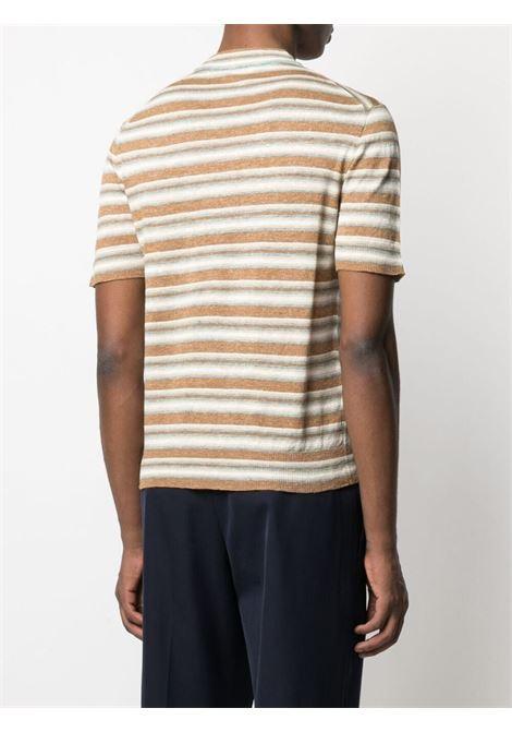 T-shirt in maglia a righe di lino e seta beige e marrone ALTEA | Maglieria | 215107334