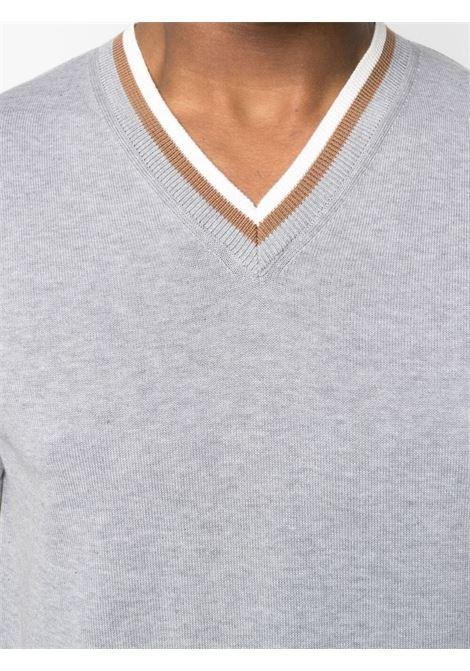 T-shirt con scollo a V in maglia fine di cotone grigio ALTEA | Maglieria | 215115123
