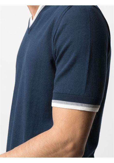 T-shirt a maglia con scollo a V in cotone blu navy e bianco ALTEA | Maglieria | 21511519