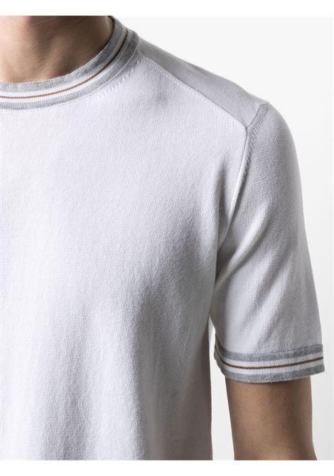 T-shirt in cotone bianco con bordo a righe ALTEA | Maglieria | 215115329