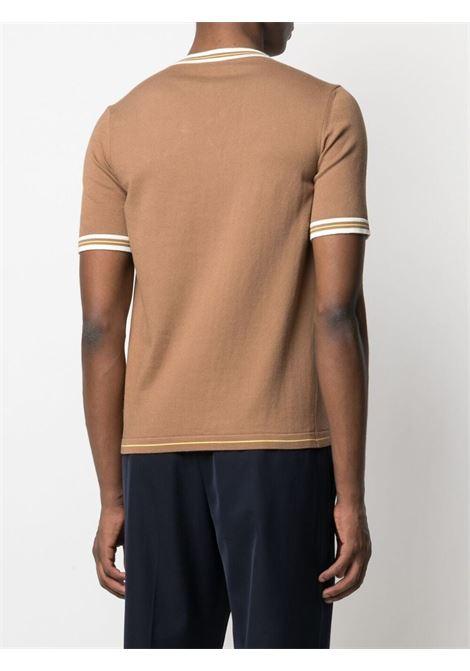T-shirt marrone in cotone con dettagli a righe ALTEA | Maglieria | 215115334