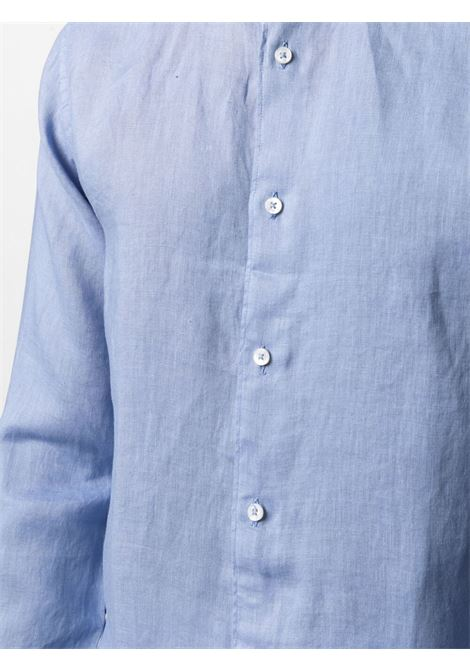 Sky-blue linen band-collar shirt  ALTEA |  | 215400413