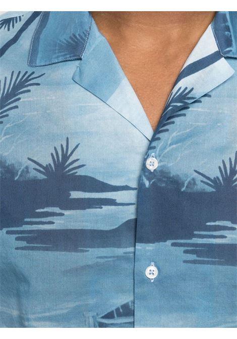 Camicia blu in cotone con stampa a caraibica ALTEA | Camicie | 215402810