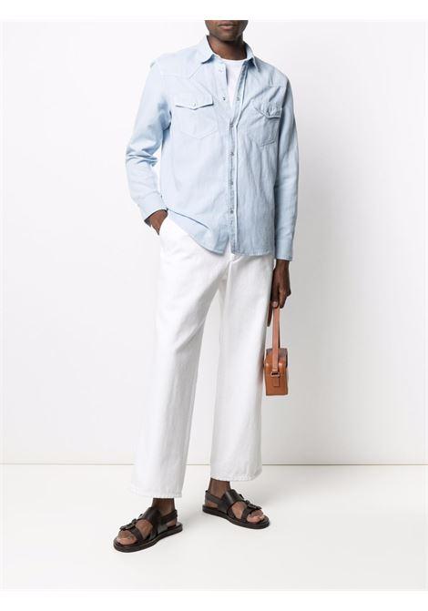 Camicia a maniche lunghe con tasche sul petto in cotone e lino celeste ALTEA | Camicie | 215406312