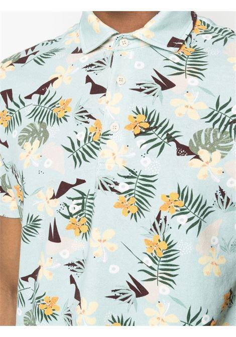 Polo verde menta in cotone con stampa hawaiana ALTEA | Polo | 215506040