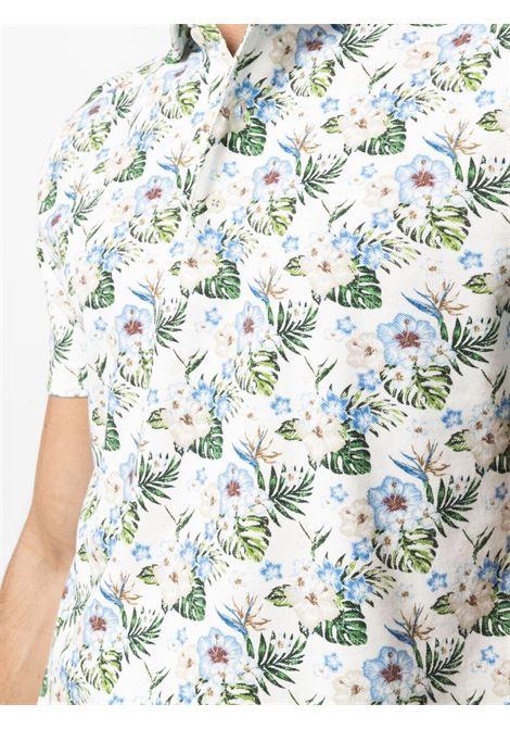 Polo in cotone bianco in stampa floreale all-over a maniche corte ALTEA   Polo   215506229