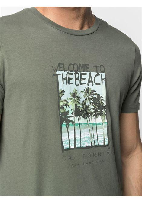 T-shirt in cotone verde militare con stampa grafica ALTEA | T-shirt | 215525145