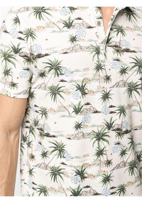 Polo a maniche corte in cotone panna cotta con stampa palme. ALTEA   Polo   215545231