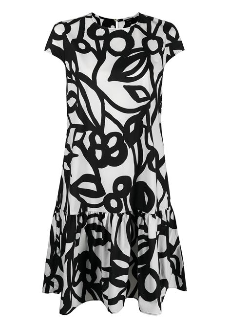 White and black cotton floral-print short-sleeved dress  ASPESI |  | 2907-F28861241