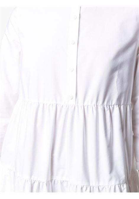 Abito chemisier in cotone bianco svasato a strati con scollo rotondo ASPESI | Abiti | 2912-C11807072