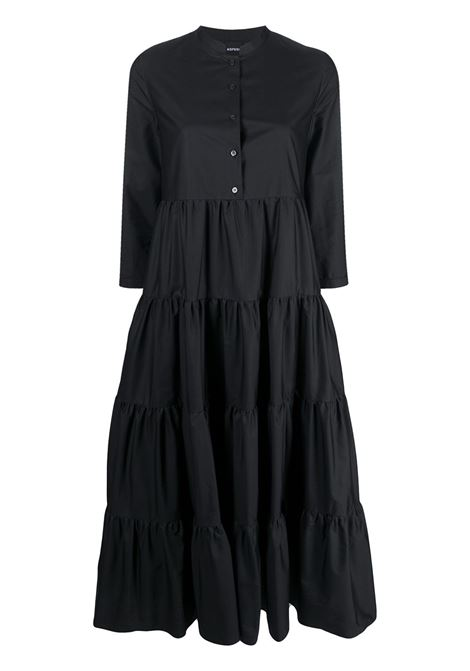 Black cotton tiered midi dress featuring stand-up collar ASPESI |  | 2912-C11807241