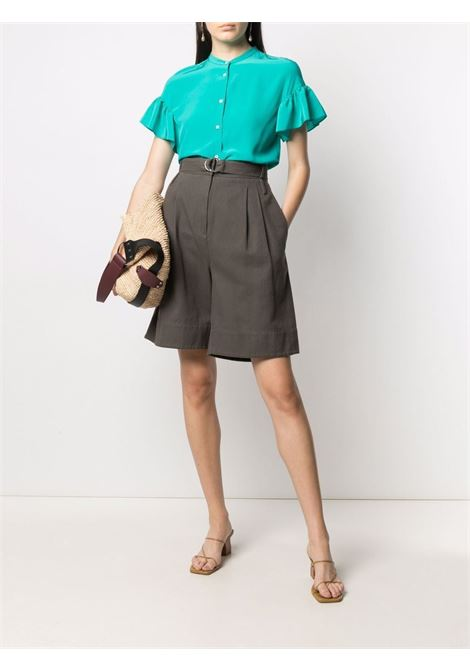 Emerald green silk ruffled sleeves blouse ASPESI |  | 5415-27535006