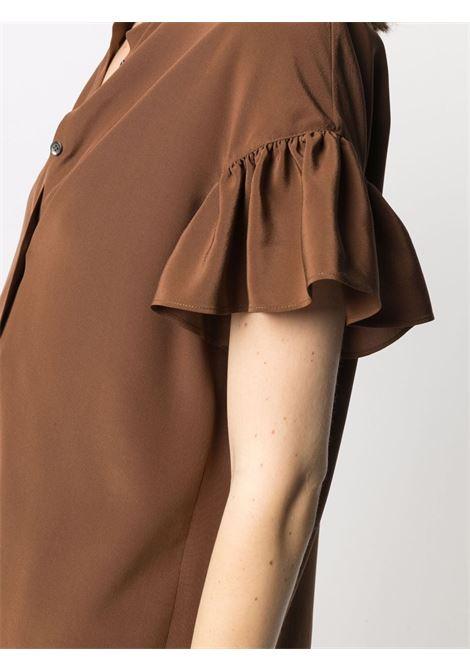 Blusa con maniche arricciate in seta marrone tabacco ASPESI | Camicie | 5415-27535085