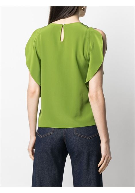Green silk slit ruffled-sleeve blouse  ASPESI |  | 5607-275305167