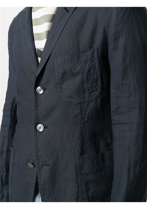 Blue linen fitted single-breasted blazer  ASPESI |  | CJ65-C19585098