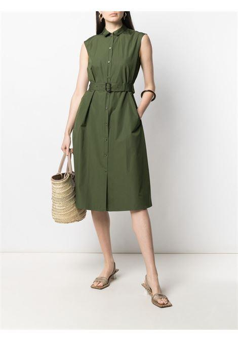 Abito chemisier verde militare in cotone senza maniche con cintura e design svasato ASPESI | Abiti | H609-D30785388