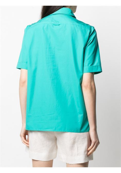 Aqua green cotton short-sleeved button placket shirt featuring slit detailing ASPESI |  | H719-D30785006