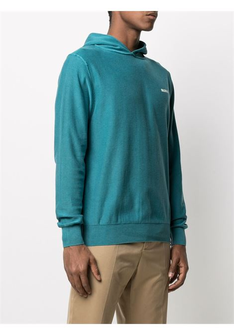 Teal blue cotton hoodie featuring Aspesi white logo print at the chest ASPESI |  | M388-337185057