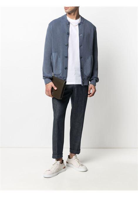 Cardigan in maglia di cotone blu a costine ASPESI | Giubbini | M397-497901031