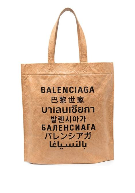 Beige fabric Language print tote bag  BALENCIAGA |  | 508454-2KE139617