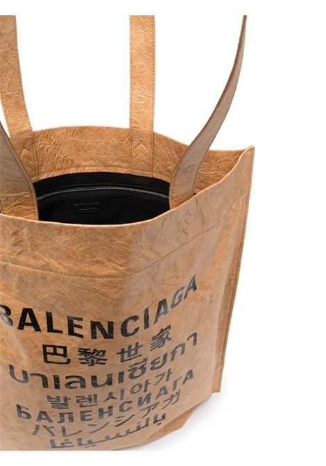 Borsa tote con stampa Language in tessuto beige BALENCIAGA | Borse a mano | 508454-2KE139617