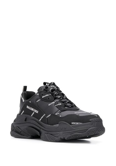 black Triple S sneakers featuring all over white Balenciaga logo print BALENCIAGA |  | 536737-W2FA11090