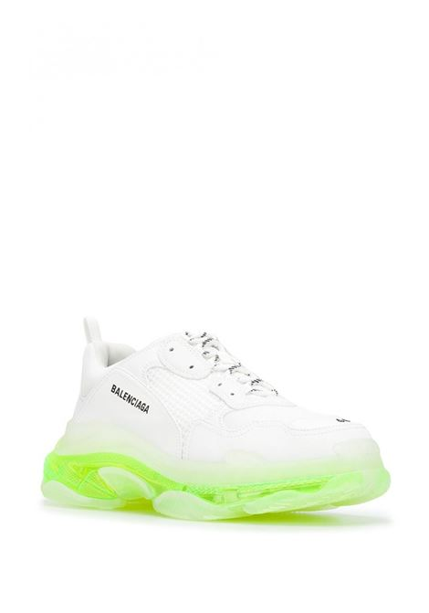 white Triple S sneakers in eco-leather with fluo green transparent sole BALENCIAGA |  | 541624-W2FR19073