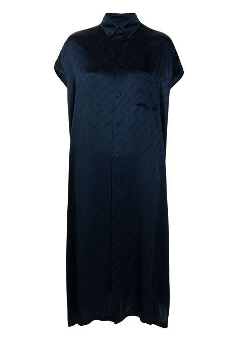 Long sleeveless shirt dress in midnight blue silk  BALENCIAGA |  | 576677-TKN024063