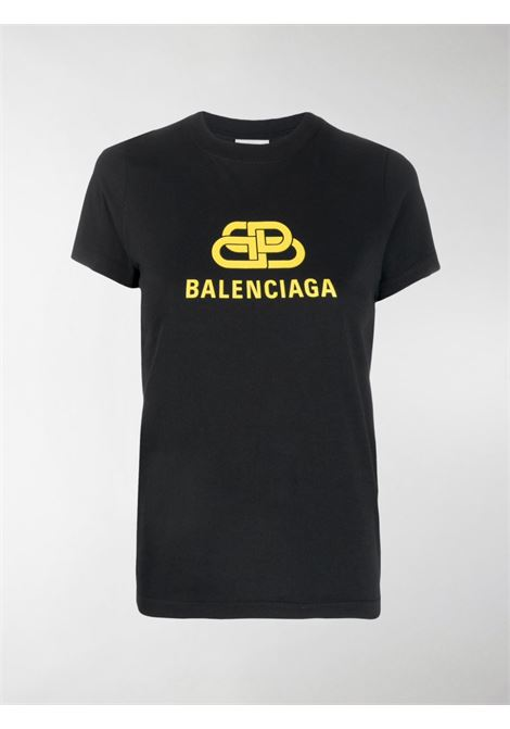 T-shirt nera con stampa gialla BB Balenciaga BALENCIAGA | T-shirt | 578133-TEV481361