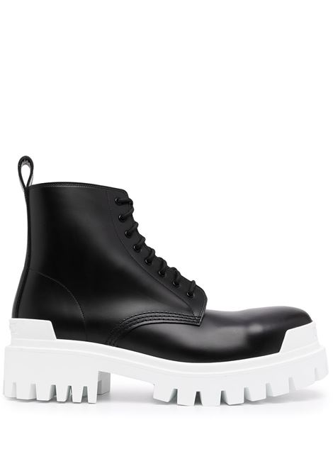 Black calf leather Strike 20mm lace-up boots featuring white rubber sole BALENCIAGA |  | 589338-WA9671090
