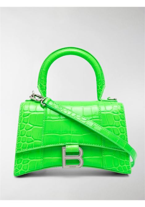 Fluorescent green calf leather Hourglass XS tote bag featuring embossed crocodile effect BALENCIAGA |  | 592833-1LR6Y3810