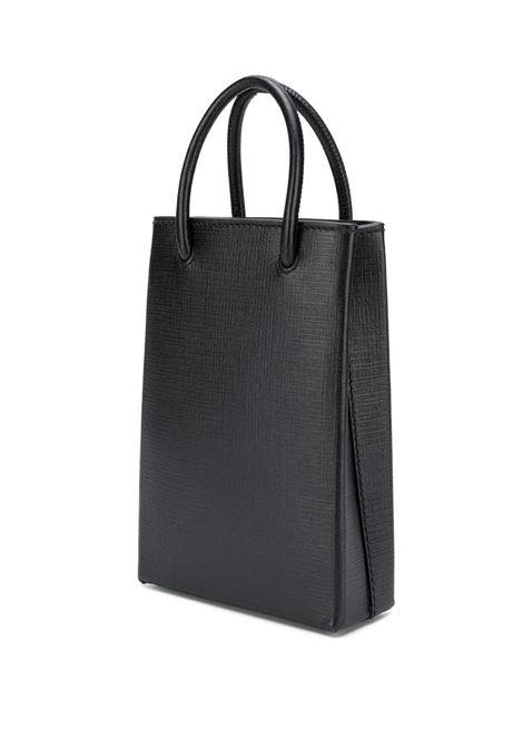 borsa Shopping Phone in pelle di vitello nera con logo Balenciaga bianco BALENCIAGA | Borse a tracolla | 593826-0AI2N1000
