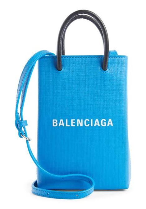 Borsa a tracolla mini in pelle di vitello azzurra con logo Balenciaga bianco BALENCIAGA | Borse a tracolla | 593826-0AI2N4805