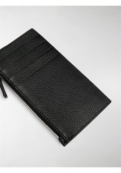 Portacarte con cordino in pelle di vitello nero e logo Balenciaga bianco BALENCIAGA | Portafogli | 594548-1IZI31090