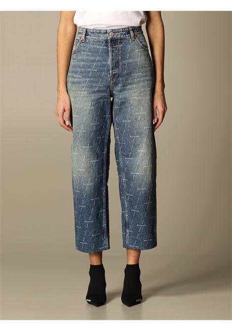 Jeans cropped in cotone blu con stampa Balenciaga all-over BALENCIAGA | Jeans | 600235-TJW532340