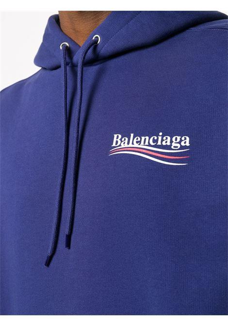 Felpa con cappuccio in cotone blu con logo Balenciaga BALENCIAGA | Felpe | 600583-TIV531195