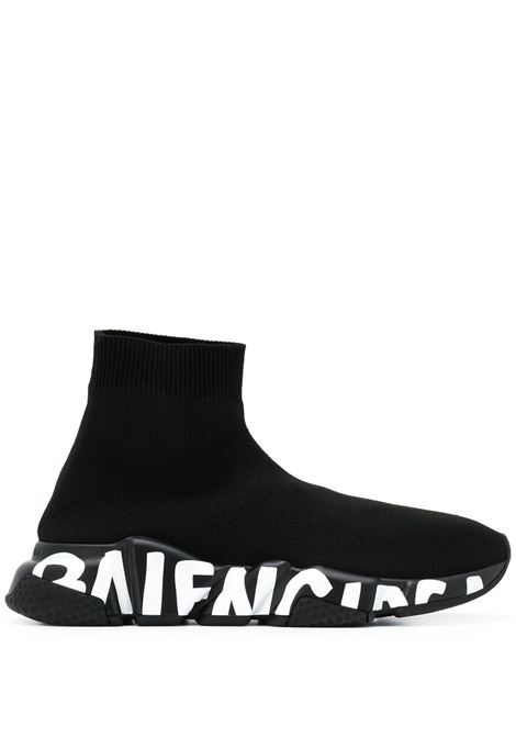 black Speed Graffiti socks sneakers in stretch-knit  BALENCIAGA |  | 605942-W2DB71006