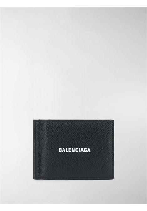 Portafoglio in pelle di vitello nera con logo Balenciaga stampato sul davanti BALENCIAGA | Portafogli | 625819-1IZI31090