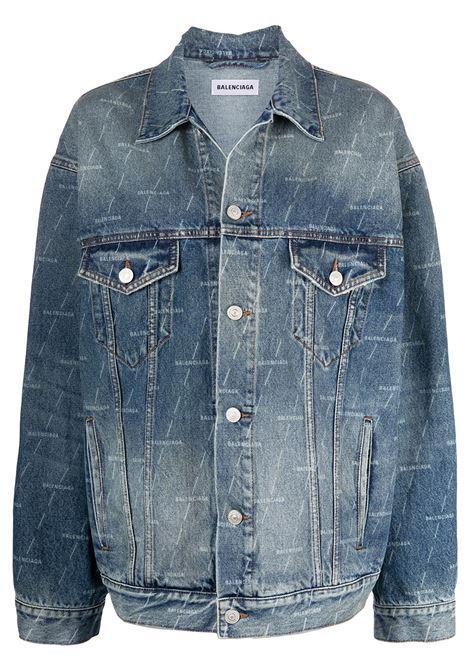 Blue cotton denim jacket featuring all-over Balenciaga logo print BALENCIAGA |  | 625993-TJW532340